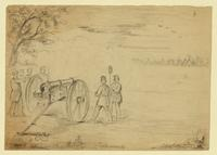 Capt. Totten's company of artillery opening fire on the secessionists.