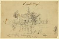 Corona Female College, Corinth, Mississippi, Hoisting the U.S. Flag; on verso, caricature of a man.