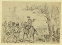 Rebel Cavalry impressing slaves from a neighboring plantation to work on fortifications of Charleston Harbor, South Carolina.