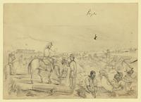 Negroes Working on the Fortifications in Charleston Harbor', South Carolina; on verso, various sketches.