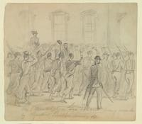 Baxter's Philadelphia Fire Zouaves Being Reviewed by President Lincoln at the White House, Washington, D.C.