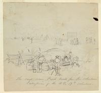 The Camp Oven, Built by the 19th New York Volunteers, General Banks' Division, in Western Maryland; verso: sketch of a landscape and a man in profile.