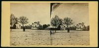 [Man standing next to tree with post office and other wood frame buildings in the background.]