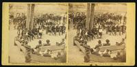 A council of war at Massaponax Church, VA., 21st May, 1864.  Gen. Grant and Meade, Asst. Sec. of War, Dana, and their staff officers
