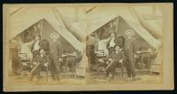 [Unidentified officers and a civilian in front of a tent]
