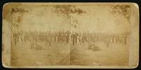 [Soldiers in formation with a drummer in the rear left corner.]