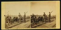 [Soldiers guarding railroad equipment.]