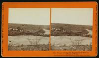 Troops crossing the Rappahannock river on a pontoon bridge
