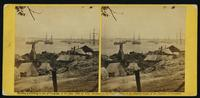 View of the ruins from the hill above the landing at City Point, James River, after the explosion of 9th August, 1864