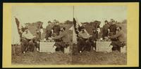 Fortress Monroe [men dining on box ]