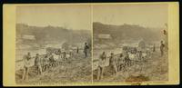 50th N.Y.V. engineers constructing road at Jericho Mills, on south bank of North Anna, Va. General headquarters' train crossing canvas pontoon bridge in the distance, 24th May, 1864