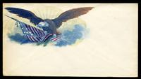 [Eagle in flight with American flag and olive branch clasped in claws].