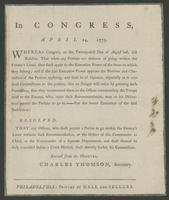 In Congress, April 14, 1779.