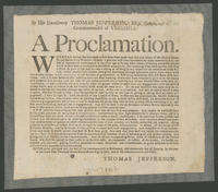 By His Excellency Thomas Jefferson, Esq; governour of the Commonwealth of Virginia: A proclamation.