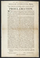 By His Excellency William Livingston, Esquire ... proclamation.