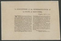 In Convention of the Representatives of the State of New-York, Kingston, April 1, 1777.