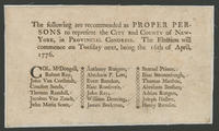 following are recommended as proper persons to represent the city and county of New-York, in Provincial Congress.