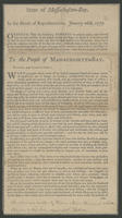 State of Massachusetts-Bay. In the House of Representatives, January 26th, 1777.