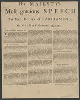 His Majesty's most gracious speech to both houses of Parliament, on Friday October 27, 1775.