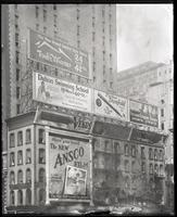 42nd Street and Fifth Avenue, New York City, undated: Ansco photographic film, Parker Duofold pens, Ground Gripper shoes, Truly Warner hat store, the Dalton Swimming School, Venus pencils, Chizelle Brothers hair salon.