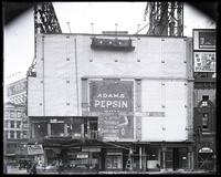 Broadway and West 48th Street, New York City, circa 1920: Adams Pepsin Gum (incomplete), Gem Damaskeene Razor.