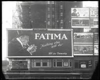 42nd Street between Seventh and Eighth Avenue, New York City, February 1922: Fatima Cigarettes, Prince Albert Tobacco, United States Royal Cord Tires, movie posters.
