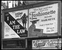 Broadway at 47th Street, New York, June 1922: 'I Am the Law' (motion picture) at the Mark Strand Theatre, Fashionette Hair Nets, C.C. Conn, Ltd., Saxophones, Equity California Cafeteria and Restaurant.