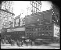 Broadway at West 47th Street, New York City, December 28, 1925: Arrow Collars (partial), Camel Cigarettes (partial), Chesterfield Cigarettes, Dr. Posner's Scientific Shoes, Ford Cars, Gimbel's Department Store, Valet Auto-Strop Razor, New York Hippodrome,
