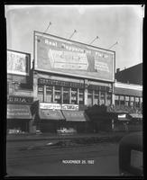 125th Street between Seventh Avenue and Lenox Avenue, New York City, November 29, 1927: Wrigley's Double Mint Gum. Also storefronts of Ideal Shoe Shop, Toby's Men's Shop, Christensen School of Rag and Jazz, Orient Photo Plays, Leight Brothers Outfitting C