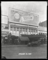 125th Street between Seventh Avenue and Lenox Avenue, New York City, January 29, 1929: Wrigley's Spearmint Gum. Also storefronts of Ideal Shoe Shop, Toby's Men's Shop, Christensen School of Music, Orient Photo Plays, Leight Brothers Outfitting Company (pa