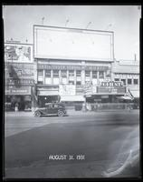 125th Street between Seventh Avenue and Lenox Avenue, New York City, August 31, 1931: 1 empty billboard. Also storefronts of Tip Top Shoes, Christensen School of Music, Orient Photo Plays, Leight Brothers Outfitting Company (partial).