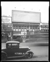125th Street between Seventh Avenue and Lenox Avenue, New York City, October 31, 1931: Crawford Custom Quality Clothes (partial).  Also storefronts of Tip Top Shoes, Christensen School of Music, Orient Photo Plays, 1 empty billboard.