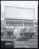 125th Street between Seventh Avenue and Lenox Avenue, New York City, February 27, 1932: 1 empty billboard.  Also storefronts of Tip Top Shoe Shop, Christensen School of Music, Orient Photo Plays.