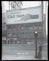 Broadway at West 47th Street, New York City, April 29, 1933: Armour Star Ham, Schaefer Beer (partial).