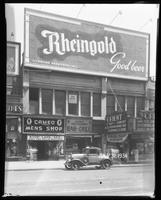125th Street between Seventh Avenue and Lenox Avenue, New York City, July 31, 1934: Rheingold Beer. Also storefronts of Cameo Men's Shop, Orient Restaurant, Orient Photo Plays.
