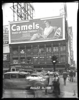 Broadway at West 47th Street, New York City, August 31, 1934: Camel Cigarettes.
