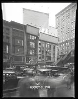 West 42nd Street at Sixth Avenue, New York City, August 31, 1934: 4 empty billboards.