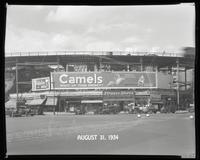 Eighth Avenue and Cathedral Parkway [i.e. 110th Street], New York City, August 31, 1934: Camel Cigarettes, Fidelio Beer. Also 1 empty billboard.
