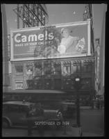 Broadway at West 47th Street, New York City, September 29, 1934: Camel Cigarettes.