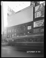 Seventh Avenue at West 47th Street, New York City, September 29, 1934: Budweiser Beer (partial), Central Savings Bank (partial), Crawford Custom Quality Clothes (partial), Taystee Bread (small, distant). Also 1 empty billboard.
