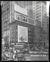 Fifth Avenue and 42nd Street, New York City, August 31, 1934: Fidelio Beer, Bowery Savings Bank / Emigrant Industrial Savings Bank / Union Dime Savings Bank. Also 4 empty billboards.