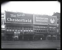 125th Street between Seventh Avenue and Lenox Avenue, New York City, 1923: Chesterfield Cigarettes, Boyshform Brassiere. Also storefronts of Ideal Shoe Shop, Toby's Men's Shop, Christensen School of Rag and Jazz, Orient Movies, Leight Brothers Outfitting