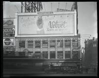 Broadway at West 47th Street, New York City, April 1925: Velvet Tobacco, Wrigley's Gum.
