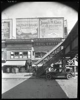 Willis Avenue near 148th Street, Bronx, New York City, August 1925: Military Brand Camembert Cheese / Eagle Brand Cream Cheese / F.X. Baumert & Company, Joseph M. Klein (clothing store), Loft Candy (partial).