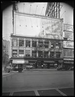 Seventh Avenue and West 47th Street, New York City, August 29, 1925: Piedmont Cigarettes, Thorola Islodyne (partial), 'Drusilla with a Million' (motion picture, partial), unidentified partial billboard. Also 1 empty billboard.