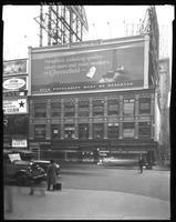Broadway at West 47th Street, New York City, October 24, 1925: Chesterfield Cigarettes, Ford Cars (partial), 2 unidentified billboards (partial).
