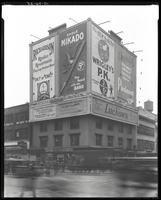 Seventh Avenue and West 34th Street, New York City, October 24, 1925: Richardson Radio Receivers, Mikado Pencils, Wrigley's P.K. Gum, Piedmont Cigarettes, Piedmont Cigarettes, Piller Bros. & Herschel (dress store), Knickerbocker Dresses, Luchow's Restaura