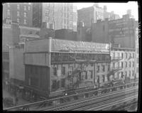 Sixth Avenue and 27th Street, October 26, 1925: Chesterfield Cigarettes; painted sign for Leon Heller Manufacturing Furrier (partial), David Aaron & Co. Lace and Embroidered Novelties. Also 3 empty billboards.