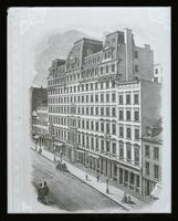 Broadway Central Hotel, Broadway and Bond Street; copy photo of a lithograph by an unknown artist, possibly published in Jos. Shannon's Manual, 1868.
