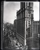 High angle view of Times Square, Seventh Avenue, New York City, 1916. Copy photograph.